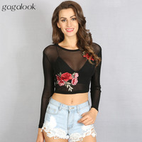 Gagalook 2017 Brand T Shirt Wome Applique Long Sleeve T Shirt Black See Though Crop Tops