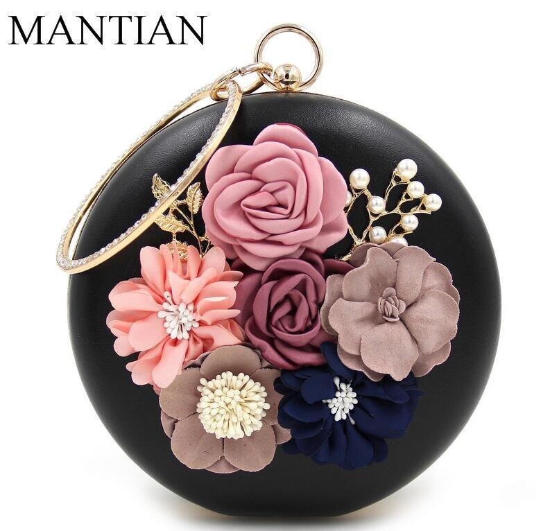 Black PU Bags Circle Box Clutches Appliques Flower Bag With Chain Women Evening Clutch Wedding