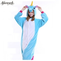 AFEENYRK 2017 Halloween Autumn Winter Pajama Sets Cartoon Sleepwear Women Pajama Flannel Animal Pajama Stitch Unicornio