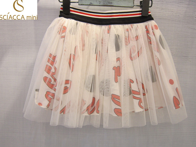 Sciaccamini 2016 буквы горошек лето сетки белый и красный пачка милые девушки юбка внутренние шорты 3 4 5 6 7 8 9 10 11 12 лет