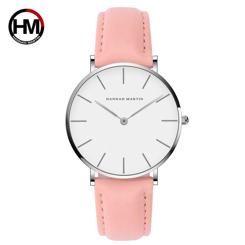 Hannah Martin Quartz Watch Women 2018 Waterproof Wrist Watches For Women Pink Leather Ladies Watch C Relojes Para Mujer цена и фото
