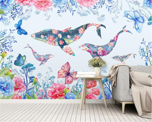 beibehang Nordic personality decorative painting wallpaper small fresh watercolor flowers whale childrens background wall paper