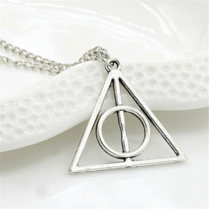 Hallows Pendant Toys Necklace Retro Triangle Round Sweater Chain Necklace Harry P Luna And The Deathly Action Toy Figures