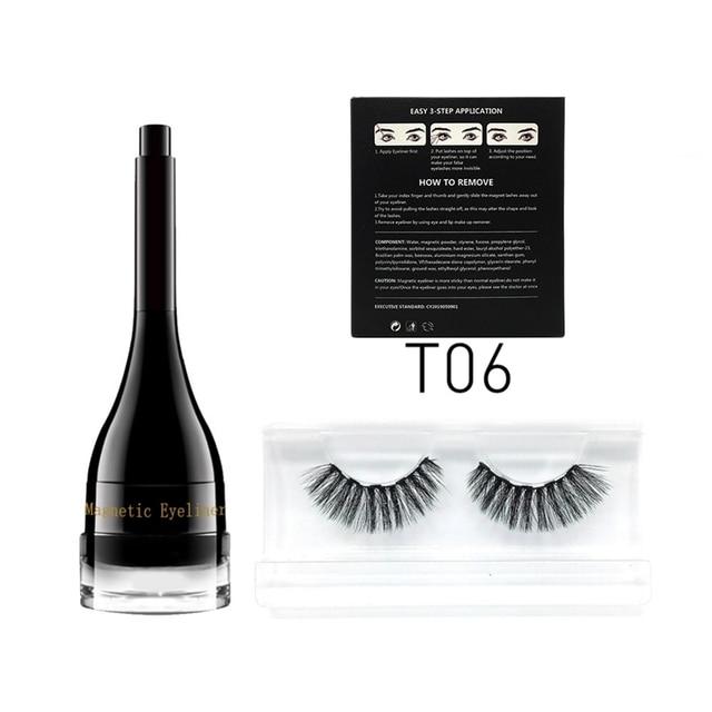 3D reutilizable pestañas postizas Mascara magnética impermeable delineador de ojos de larga duración conjunto maquillaje profesional