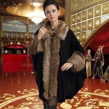 SC75 2018 New Fashion Women Autumn And Winter Patchwork Fur Collar Poncho Imitation Cashmere Long Sleeve Knit Shawl Cloak Coat
