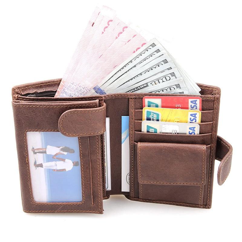 Genuine Cowhide Leather Men Wallet Short Coin Purse Multi-card Bit Wallets Brand High Quality Dollar Vintage Male Card Holder