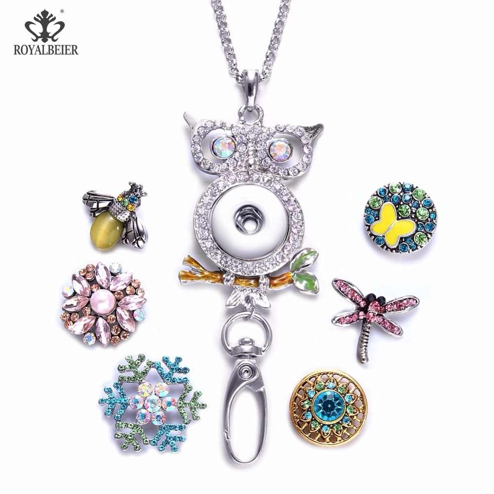 ROYALBEIER Working ID Holder Lanyard Snaps Pendant Necklace Fit 18mm Snap Button Jewelry Snaps Necklace For Snap Jewelry XL0091