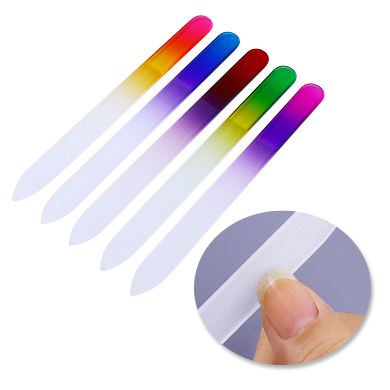 5Pcs Gradient Rainbow Glass Nail Files Set Double sided Buffers Kits Filing Buffing Grinding Manicure Nail