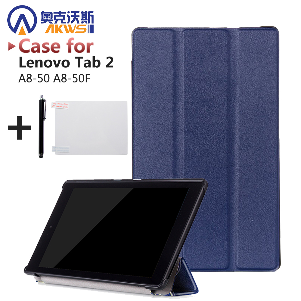 Folio stand cover case for lenovo Tab 2 A8-50 A8-50F A8 50 8 tablet protective leather cover case+free gift new slim folio bracket for lenovo a7 20f standing tablet cover for lenovo tab 2 a7 20 flip protective tablet case