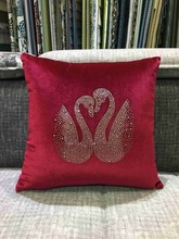 Free Shipping Custom Swan Pattern Crystal Diamond Pillow  Bedroom Chair Back Cushion  For Couples Wedding Gift