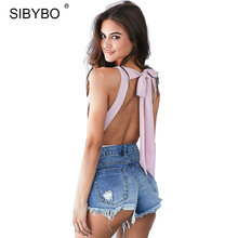 Sibybo 2019 Sexy Chic Backless Bodysuit mujer negro/blanco Deep V Neck Summer ceñido Bodysuit mamelucos mujer mono(China)
