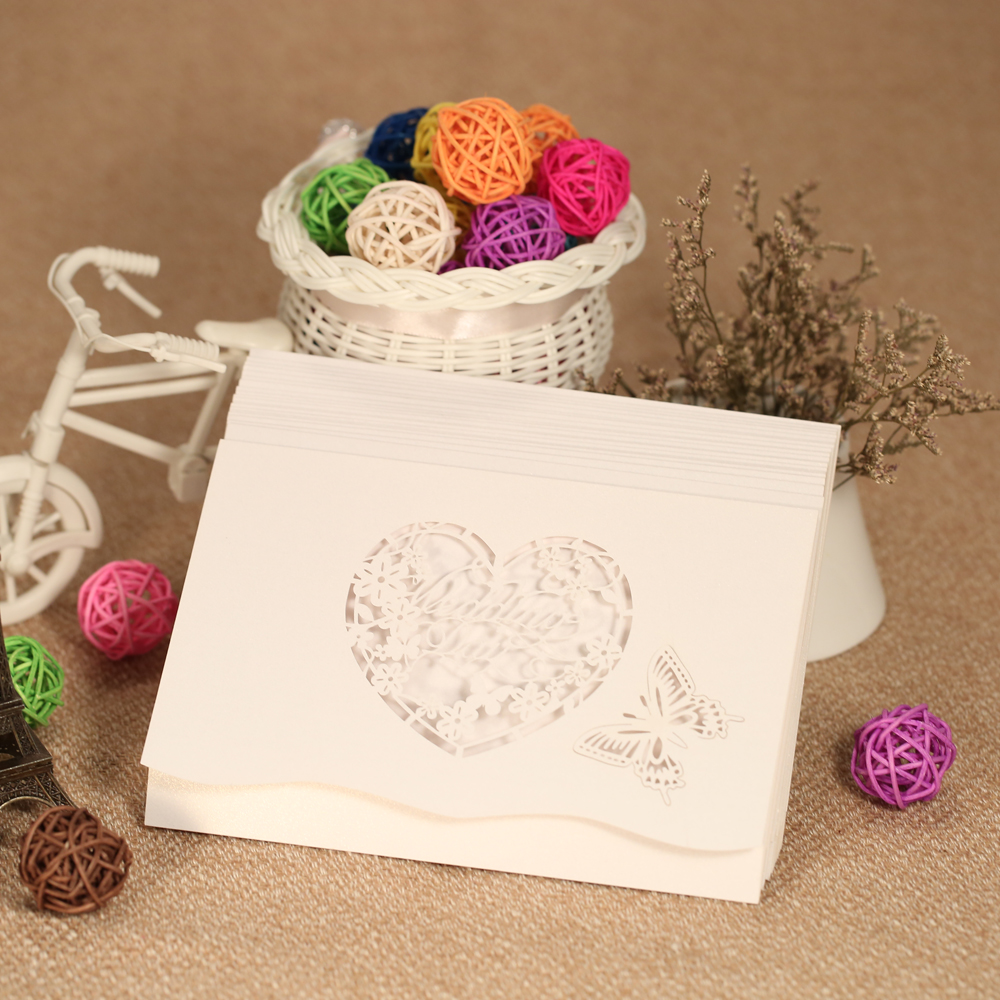 20pcs Laser Cut Wedding Invitation Cards Carved Heart Butterfly Pattern Wedding Card Hollow Out Cards Party Banquet Favor Supply