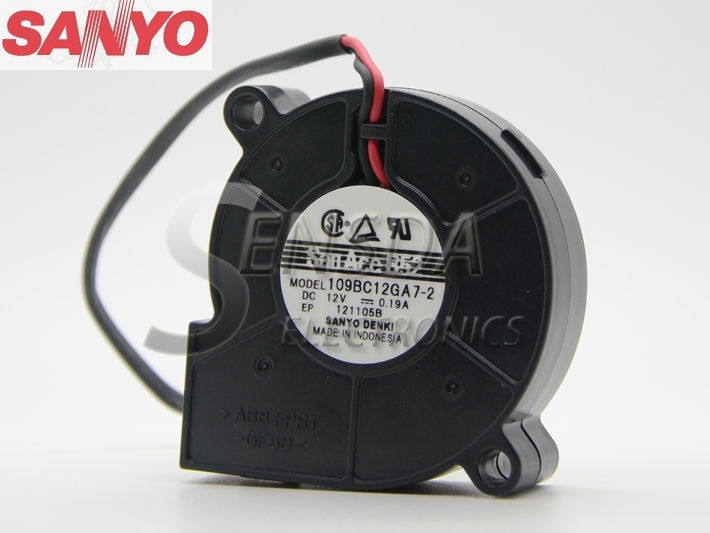 Sanyo 109BC12GA7 -2 5015 12V 0.19A 5cm 50mm turbo centrifugal cooling fan Blower original sanyo xf 24206 5cm 5015 12v 0 09a 3 lines projector blower cooling fan