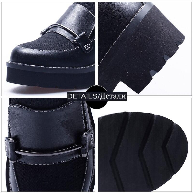 Punto Femenino Negro Cuero Plataforma Zapatos Redonda Boot Tacones Otoño Vaca Calzado Wetkiss 2018 De Calcetín Botas Punta Mujeres Mujer wqv1xt4F