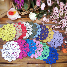 PD053 16cm white Vintage Lace round shaped placemat love hand crocheted cotton