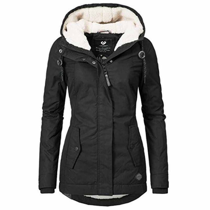Women Jackets Casual Winter Warm Simple Black Gothic Slim Hooded Zipper Pocket Solid Coats OL Ladies Female Fashion Overcoats