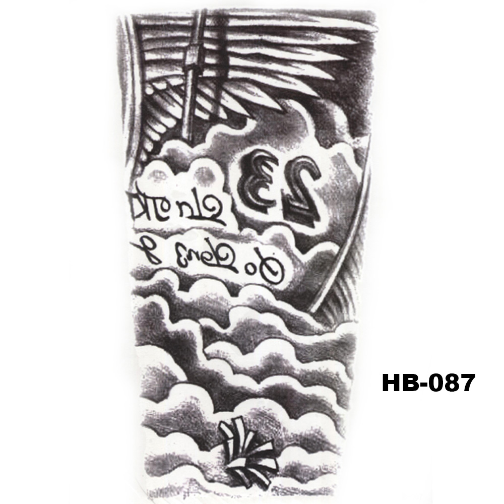 5 Pcs Hot Black Fish Totem Temporary Tattoo Stickers Waterproof Body Art Big Fake Shoulder Tattoo For Men and Women (29)