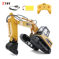 HuiNa 1:14 RC Excavator Crawler Truck Car 15 Channel 2.4GHz Metal Charging Car Toys with Remote Control Excavator for Boys Adult