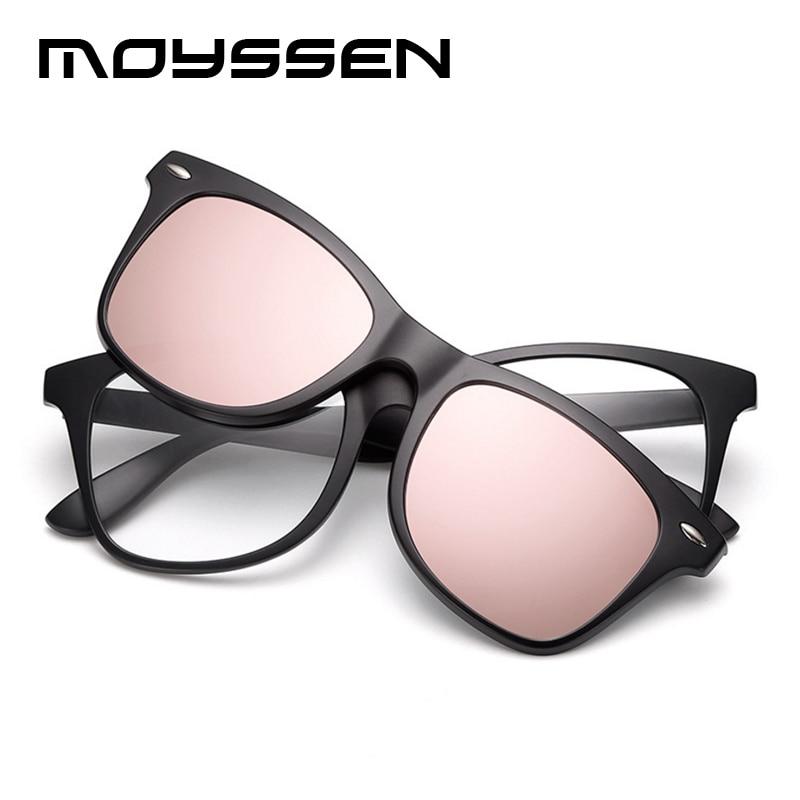 8469506f71d7 MOYSSEN Brand Classic Retro TR90 Glasses Frame Set With Sunglasses Clip Men  Women Square Myopia Night Vision Driving Eyeglasses