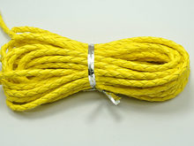 16.4 Feets Yellow Braided Leatherette Jewelry Cord 4mm(China)