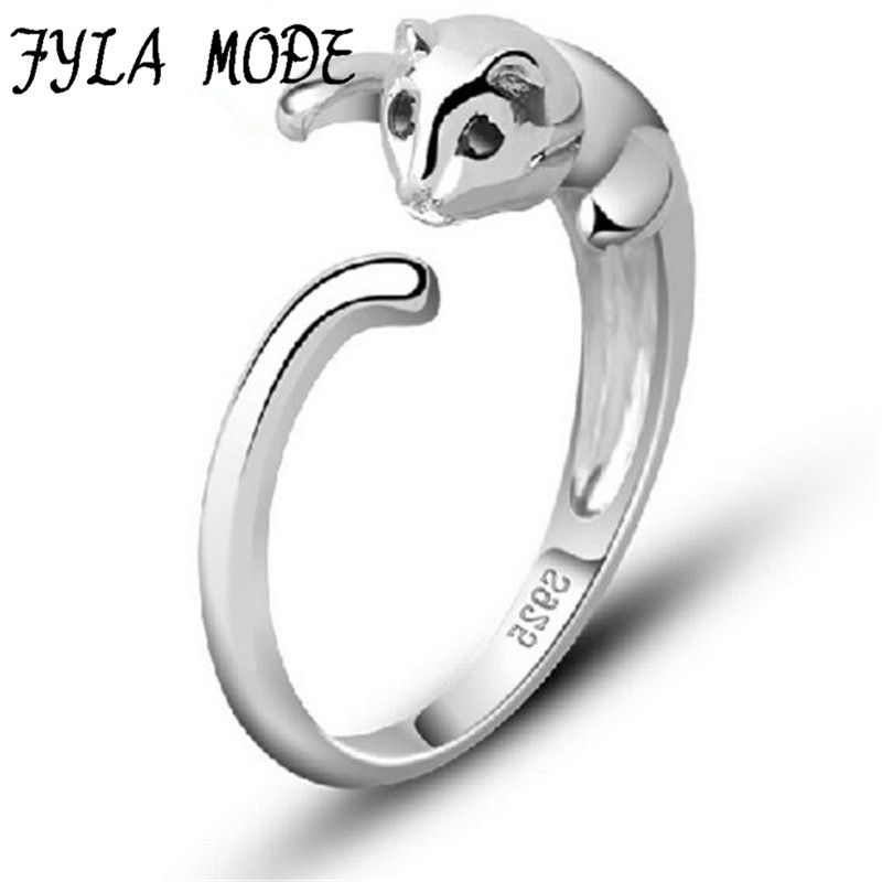 Fyla Mode New 1Pcs 925 Sterling Silver Cat Rings For Women And Men Jewelry Beautiful Finger Open Rings For Party Birthday Gift