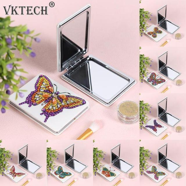 Butterfly/Heart DIY Special Shaped Diamond Painting Mirror Women Girl Ultra-thin Mini Makeup Mirror Embroidery Cross Stitch Kit 2