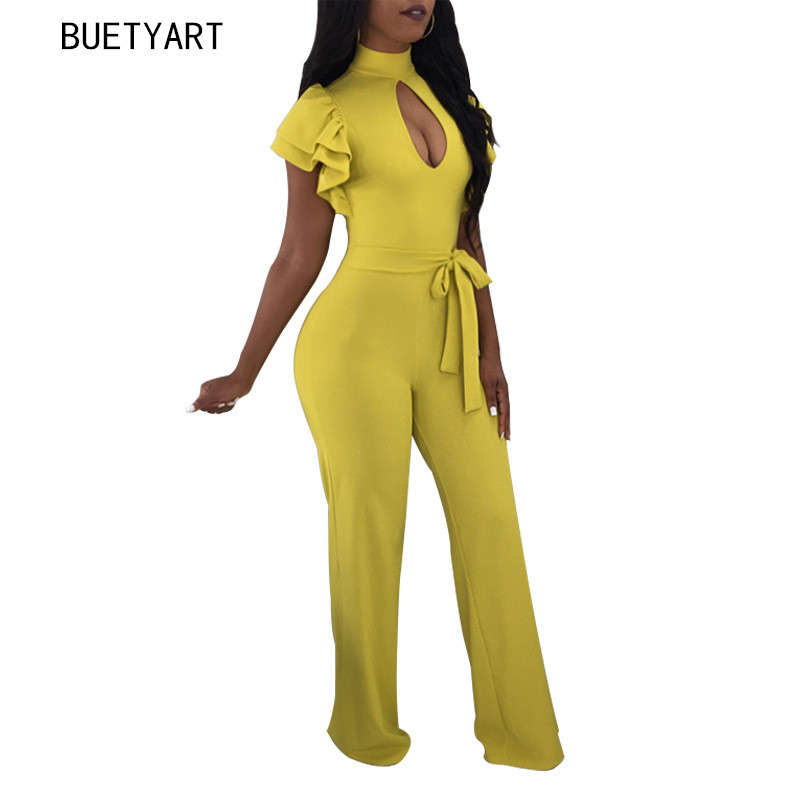 BUETYART Jumpsuits Rompers Women Plus Size Fashion Jumpsuit Long Sleeve Sexy Bodycon Overalls One Piece Pants