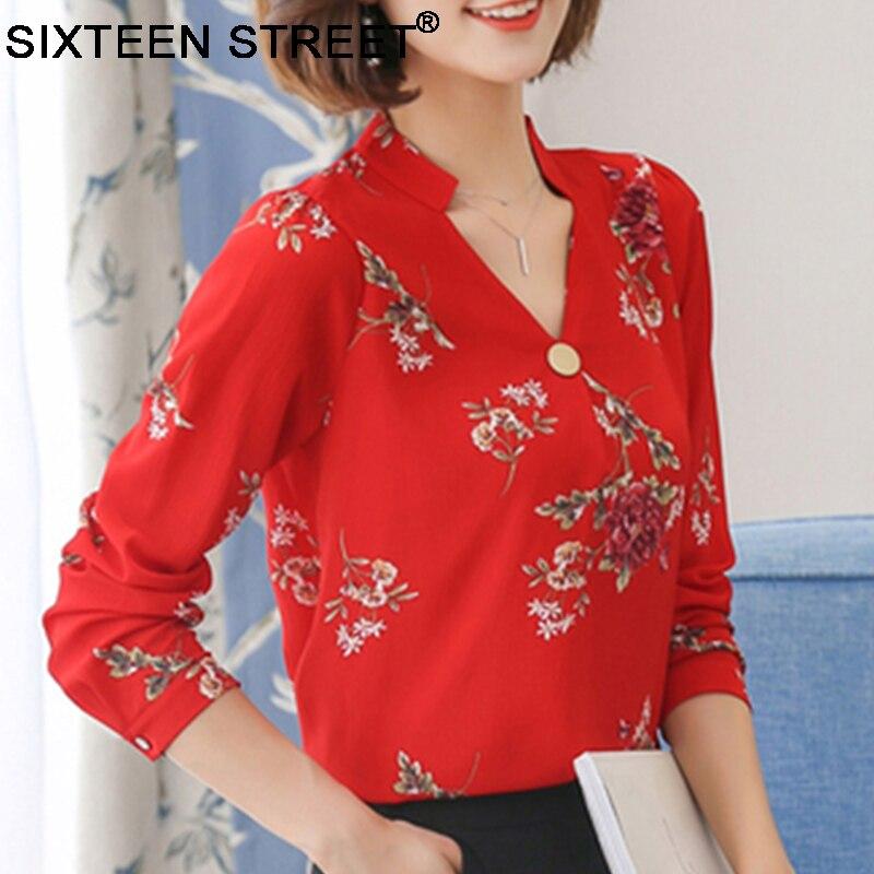 New Korean Fashion Woman Shirt Chiffon Long Sleeve V Neck Elegant Office Work Basic Tops Red Rose Peony Blouses Ladies Blusas