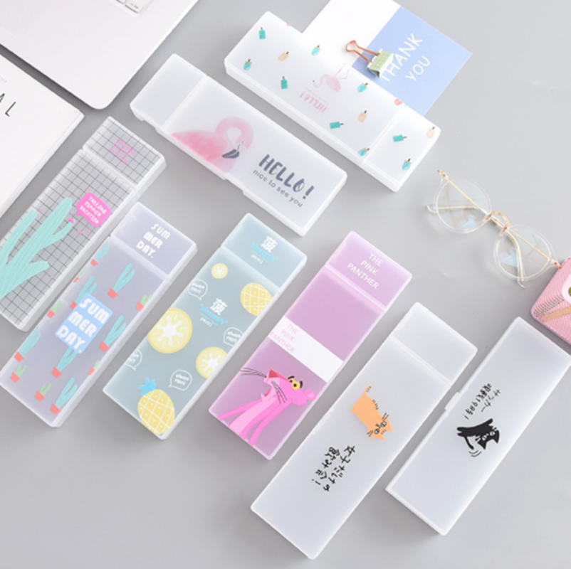 Simple transparent pencil case Flamingo cactus pencil box Plastic storage box Learning stationery Office Supplies