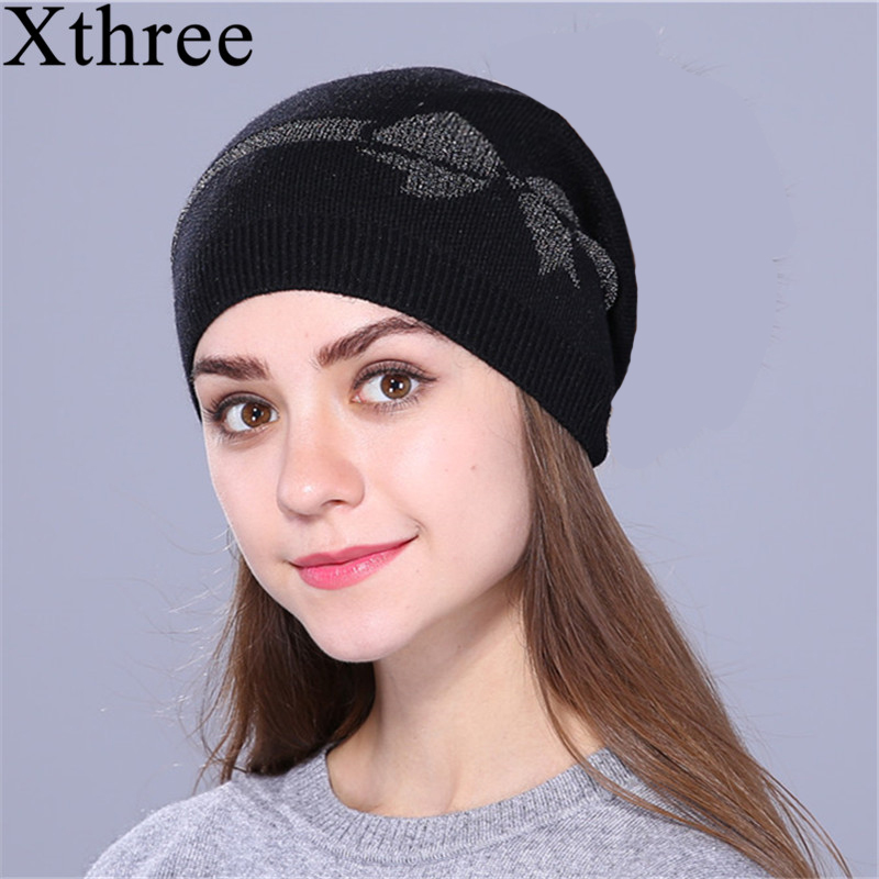 [Xthree] wool beanies fall winter hat for women knit beanie skull hat cap silver cord Bow girl female hat brand new 2017 new  beanie