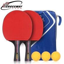 Настольный теннис ракетка резиновые 2 шт./лот настольного тенниса ракетки длинной ручкой для пинг-понга весло ракетки набор с сумкой 3 шары для освобождает