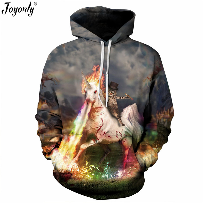 Joyonly 2018 Autumn Women Men Hoodies Horse Cat Colorful Paint Moon Space Galaxy Printing 3D Sweatshirt Casual Pullover Clothing