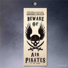 Steampunk Art Print Wall Poster Beware-Air-Pirates-Skull-Jolly-Roger Painting Printed On Canvas gift Landscape Rectangle Canvas