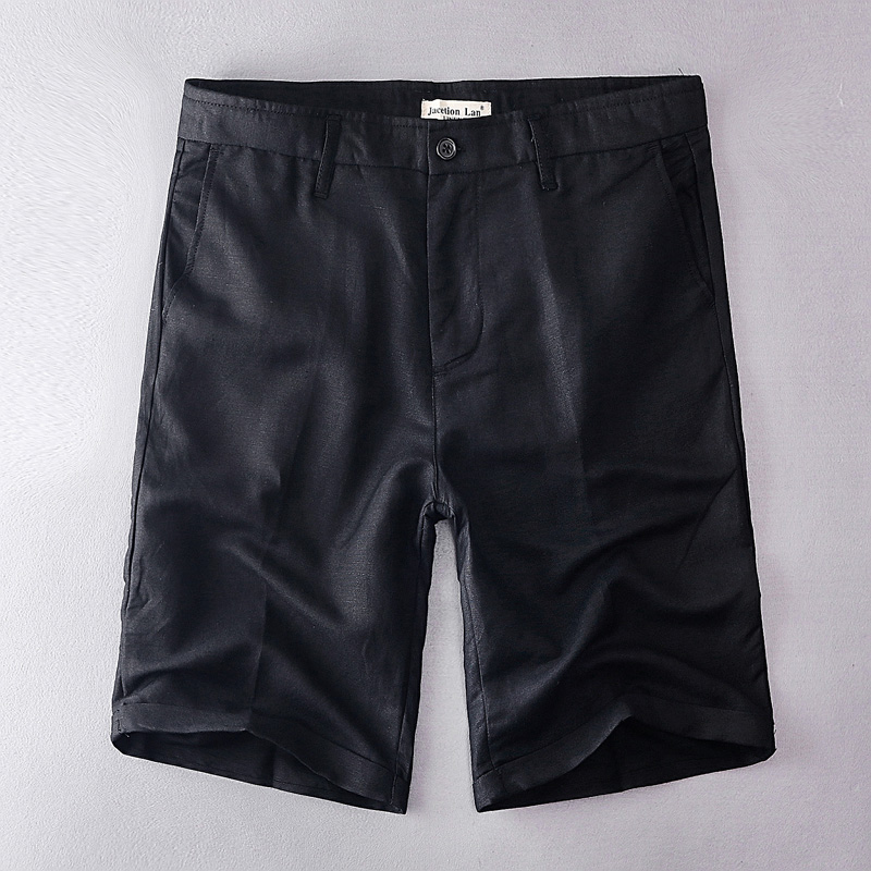 2019 New Arrival Linen And Cotton Casual Shorts Men Brand Fashion Solid Black Shorts Mens 30-38 Size Short Male Bermudas