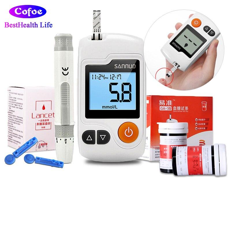 Sannuo Yizhun GA 3 Blood Glucose Meter Diabete Montior With 50pcs Test Strips Lancets Needles Blood