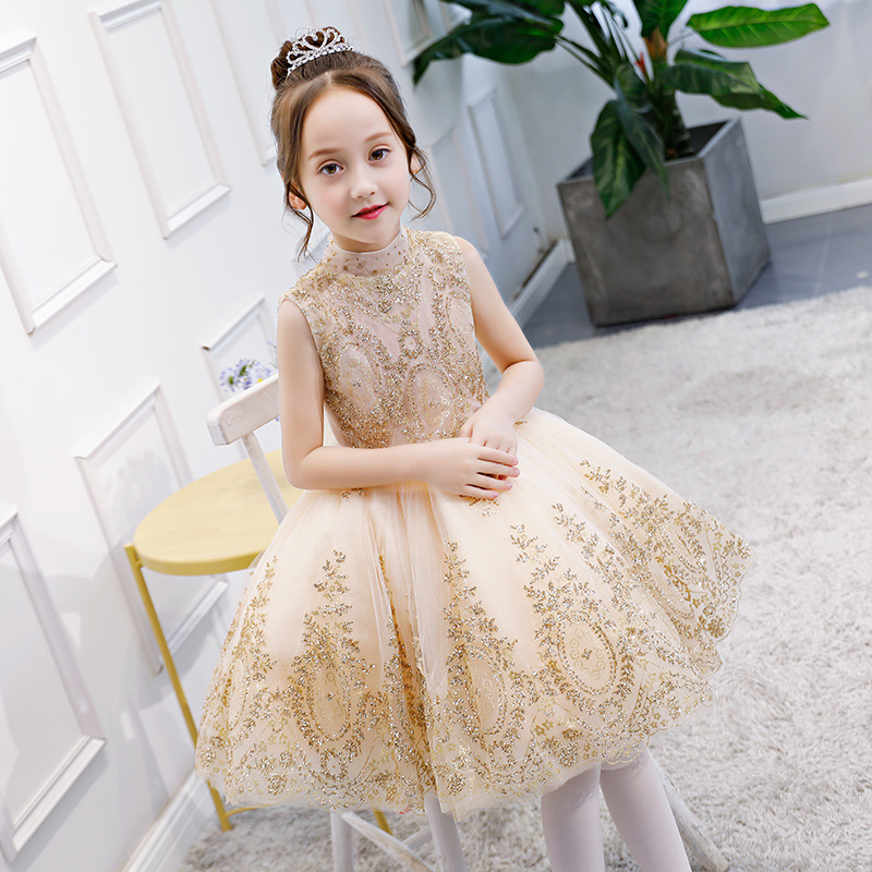Fashionable Glizt Flower Girl Dress for Weddings Kids Gold Wire Party Princess Birthday First Holy Communion