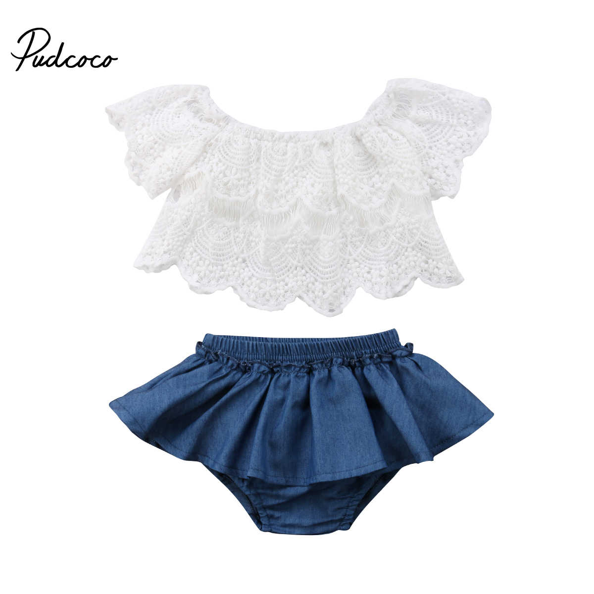 c40f19331 0-3Y Newborn Toddler Baby Girl Off Shoulder Lace Tops White+Denim Shorts  Skirted