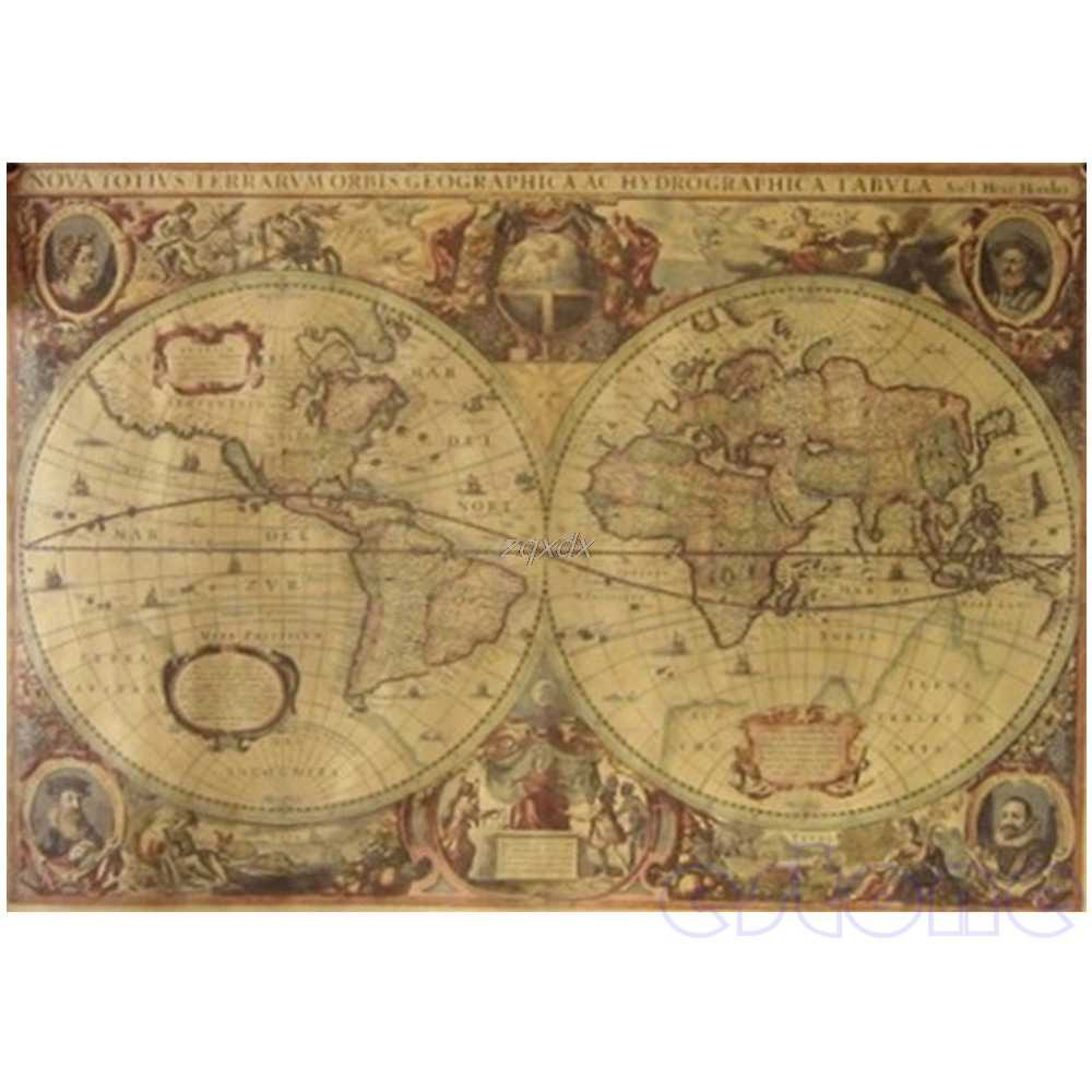 71x50cm Vintage Globe Old World Map Matte Brown Paper Poster Home Wall Decor  Drop ship