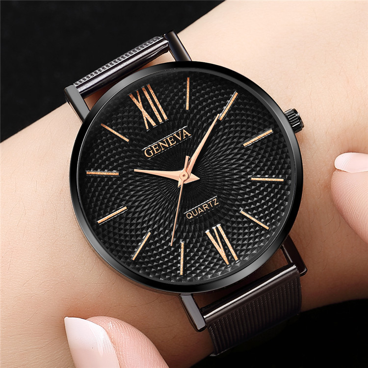 Newest Geneva Women Watch Fashion Women Watches Black Stainless Steel Mesh Band Quartz Watches Ladies Watch Horloges Vrouwen