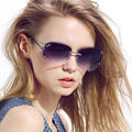 rimless sunglasses Ms. sunglasses glasses big box fashion new an- UV 400 Stylish Lady eyewear femal car travel women702