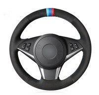 Black Genuine Leather Car Steering Wheel Cover for BMW E60 530d 545i 550i E61 Touring 2005 2009 E63 E64 630i 645Ci 650i