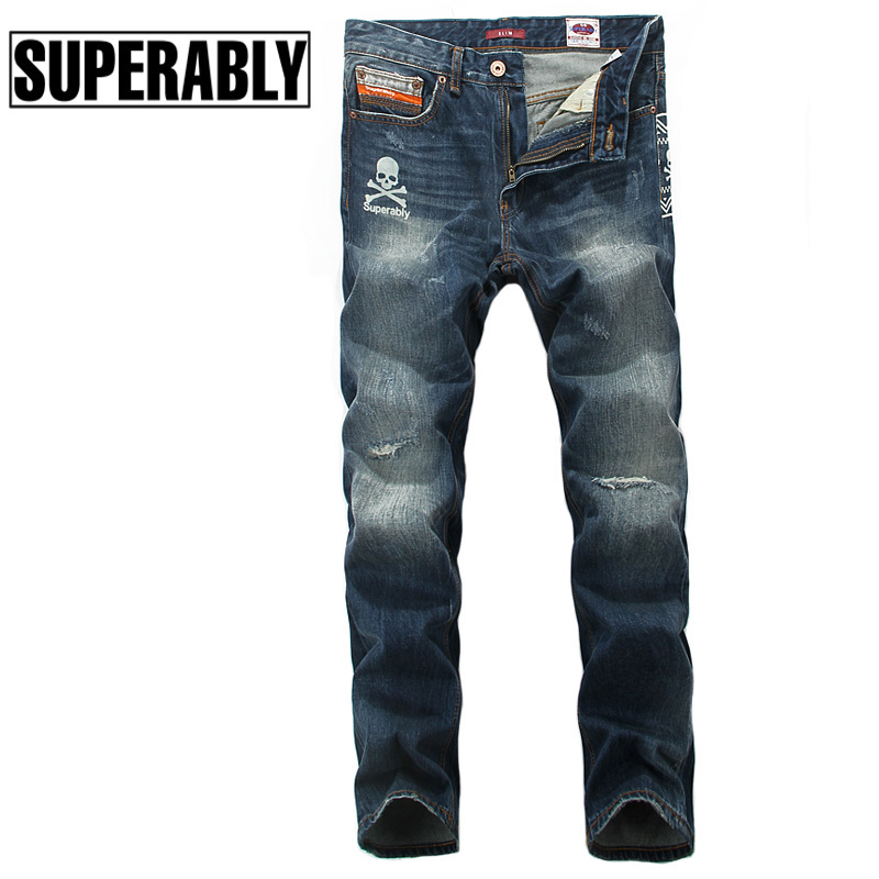 Superably Brand Clothing Men Jeans High Quality Skulls Print Destroyed Ripped Jeans Mens Pants Denim Slim Fit Biker Jeans Homme 2017 slim fit jeans men new famous brand superably jeans ripped denim trousers high quality mens jeans with logo ue237
