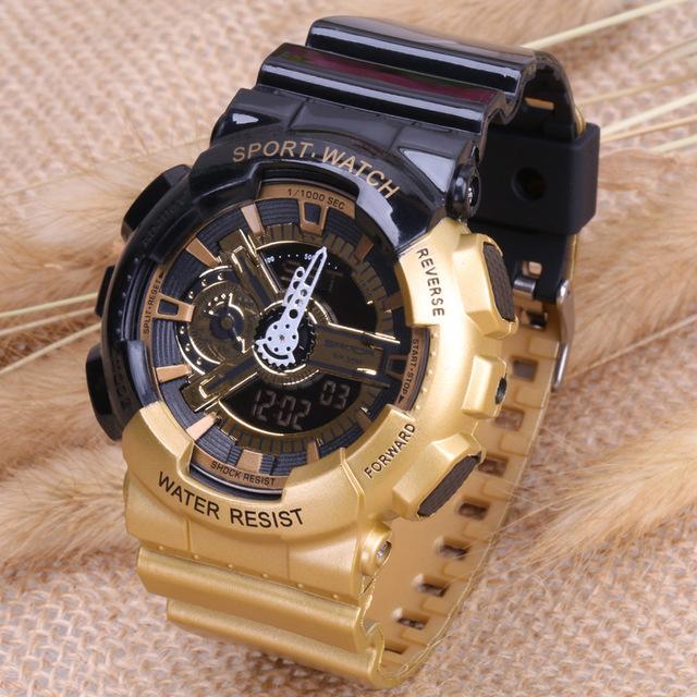 Nuevo S deportes electrónicos a prueba de agua a prueba de golpes LED DIGITAL de Moda 80g del ejército militar reloj de los hombres Casual Veces Doble Reloj reloj