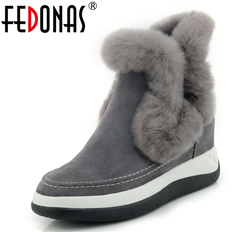 FEDONAS Top Quality Women Wedges High Heeled Ankle Boots Fur Cow Suede Short Martin Shoes Woman Fashion Comfort Warm Winter Boot xgvokh ankle boots women winter warm cow suede leather high quality shoes woman fashion lace up boot short boots height