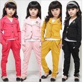 Розничная 2014 весной и осенью детская одежда мода набор детей девочки элегантный классический набор twinset комплект Бесплатная Доставка