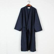 New Male female  Japanese Kimono Bathrobe Cotton Linen Pajamas Bath Robe Men women Half Sleeve Nightgown Sleep Lounge