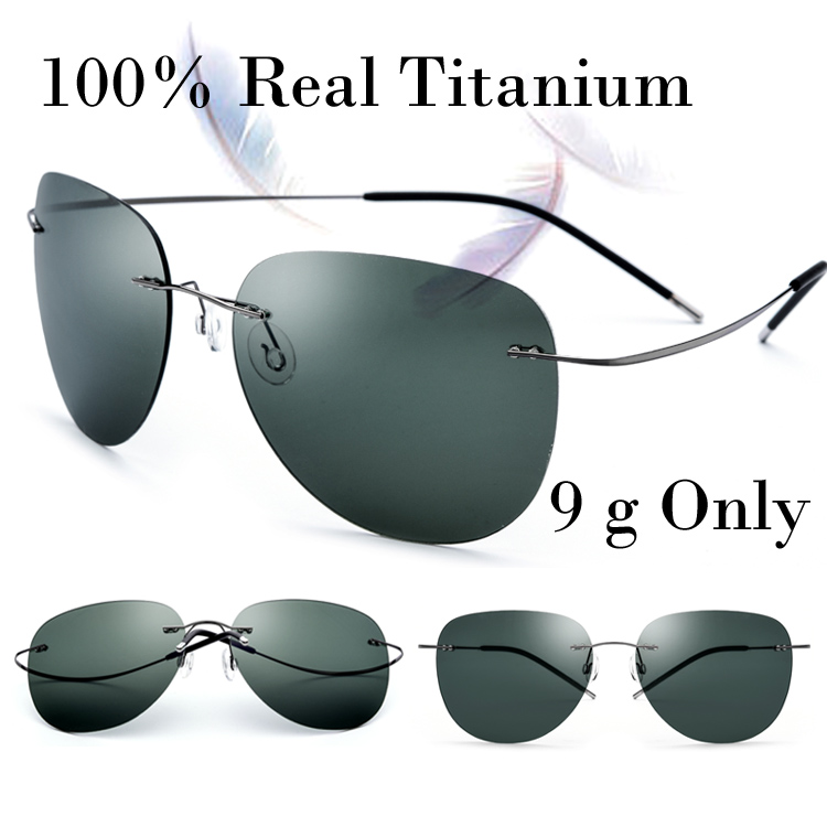 100 Real Titanium No Screw Men Male Rimless Sunglasses Women Ultralight Memory Polarized Mirror Sun Glasses