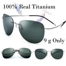 100% Real Titanium No Screw Men/Male Rimless Sunglasses Women Ultralight Memory Polarized Mirror Sun Glasses Oculos Silhouett