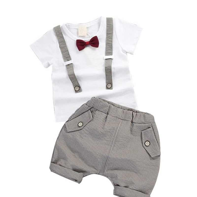 ab76d5e21aa9 Toddler Boys Clothing Set Summer Baby Suit Shorts Shirt 1 2 3 4 Year  Children Kids