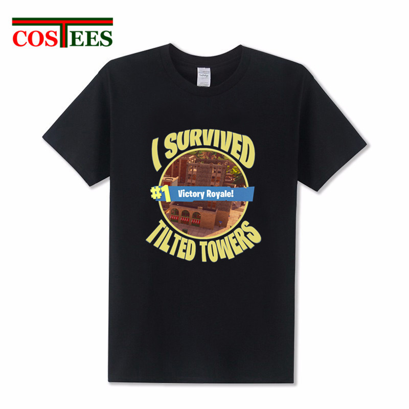 Pop Xbox game Fortnite T-shirt man I survived Tilted Towers t shirt men Fortnite Victory Royale Tee Fornite Battle Royale tshirt